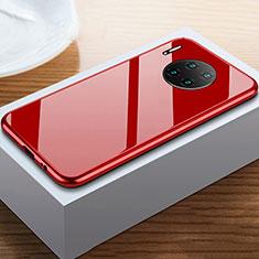 Huawei Mate 30用ケース 高級感 手触り良い アルミメタル 製の金属製 360度 フルカバーバンパー 鏡面 カバー M02 ファーウェイ レッド