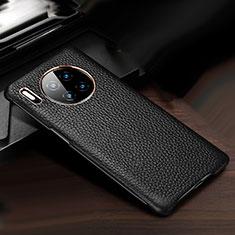 Huawei Mate 30用ケース 高級感 手触り良いレザー柄 ファーウェイ ブラック