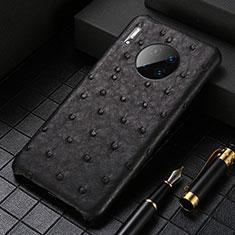 Huawei Mate 30用ケース 高級感 手触り良いレザー柄 S01 ファーウェイ ブラック