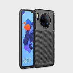Huawei Mate 30用シリコンケース ソフトタッチラバー ツイル カバー S01 ファーウェイ ブラック