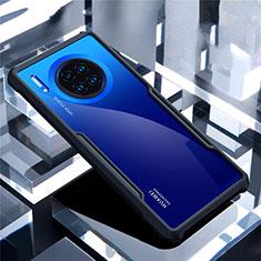 Huawei Mate 30用ハイブリットバンパーケース クリア透明 プラスチック 鏡面 カバー ファーウェイ ブラック