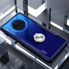 Huawei Mate 30用360度 フルカバーハイブリットバンパーケース クリア透明 プラスチック 鏡面 アンド指輪 マグネット式 ファーウェイ ネイビー