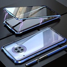 Huawei Mate 30用ケース 高級感 手触り良い アルミメタル 製の金属製 360度 フルカバーバンパー 鏡面 カバー M08 ファーウェイ ネイビー