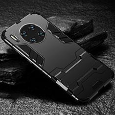 Huawei Mate 30用ハイブリットバンパーケース スタンド プラスチック 兼シリコーン カバー ファーウェイ ブラック