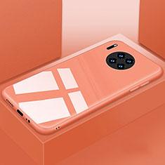 Huawei Mate 30用ハイブリットバンパーケース プラスチック 鏡面 カバー T03 ファーウェイ オレンジ