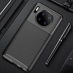 Huawei Mate 30用シリコンケース ソフトタッチラバー ツイル カバー Y02 ファーウェイ ブラック