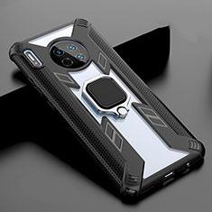 Huawei Mate 30用ハイブリットバンパーケース プラスチック 鏡面 カバー アンド指輪 マグネット式 T02 ファーウェイ ブラック