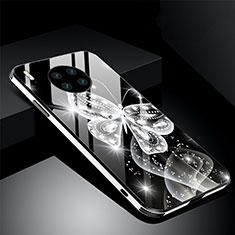 Huawei Mate 30用ハイブリットバンパーケース プラスチック 鏡面 花 カバー C01 ファーウェイ ブラック