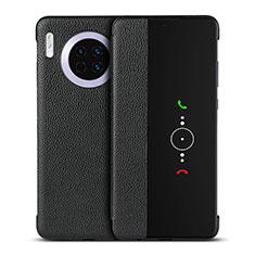 Huawei Mate 30用手帳型 レザーケース スタンド カバー T16 ファーウェイ ブラック