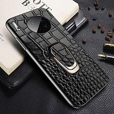 Huawei Mate 30用ケース 高級感 手触り良いレザー柄 R06 ファーウェイ ブラック