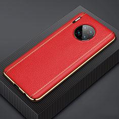 Huawei Mate 30用ケース 高級感 手触り良いレザー柄 R07 ファーウェイ レッド