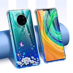 Huawei Mate 30用極薄ソフトケース シリコンケース 耐衝撃 全面保護 クリア透明 花 ファーウェイ ネイビー