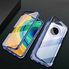 Huawei Mate 30用ケース 高級感 手触り良い アルミメタル 製の金属製 360度 フルカバーバンパー 鏡面 カバー T02 ファーウェイ ネイビー