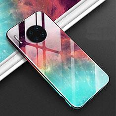 Huawei Mate 30用ハイブリットバンパーケース プラスチック パターン 鏡面 カバー C01 ファーウェイ レッド