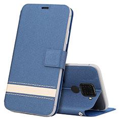 Huawei Mate 30 Lite用手帳型 レザーケース スタンド カバー L07 ファーウェイ ネイビー