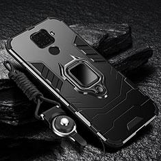 Huawei Mate 30 Lite用ハイブリットバンパーケース プラスチック アンド指輪 マグネット式 ファーウェイ ブラック
