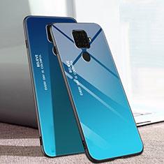 Huawei Mate 30 Lite用ハイブリットバンパーケース プラスチック 鏡面 虹 グラデーション 勾配色 カバー ファーウェイ ネイビー