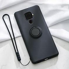Huawei Mate 30 Lite用極薄ソフトケース シリコンケース 耐衝撃 全面保護 アンド指輪 マグネット式 バンパー A03 ファーウェイ ブラック