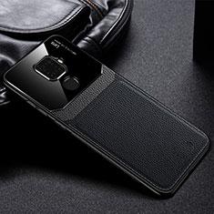 Huawei Mate 30 Lite用シリコンケース ソフトタッチラバー レザー柄 カバー S03 ファーウェイ ブラック