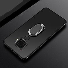 Huawei Mate 30 Lite用極薄ソフトケース シリコンケース 耐衝撃 全面保護 アンド指輪 マグネット式 バンパー A02 ファーウェイ ブラック