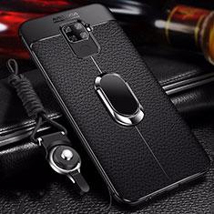 Huawei Mate 30 Lite用シリコンケース ソフトタッチラバー レザー柄 アンド指輪 マグネット式 S01 ファーウェイ ブラック
