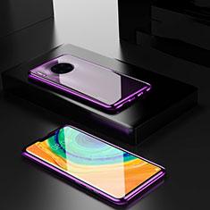Huawei Mate 30 Pro 5G用ケース 高級感 手触り良い アルミメタル 製の金属製 360度 フルカバーバンパー 鏡面 カバー ファーウェイ パープル