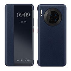 Huawei Mate 30 Pro 5G用手帳型 レザーケース スタンド カバー ファーウェイ ネイビー
