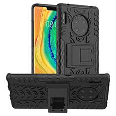 Huawei Mate 30 Pro 5G用ハイブリットバンパーケース スタンド プラスチック 兼シリコーン カバー R01 ファーウェイ ブラック