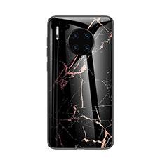 Huawei Mate 30 Pro用ハイブリットバンパーケース プラスチック パターン 鏡面 カバー ファーウェイ ブラック