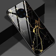 Huawei Mate 30 Pro用ハイブリットバンパーケース プラスチック パターン 鏡面 カバー S01 ファーウェイ ゴールド