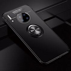 Huawei Mate 30 Pro用極薄ソフトケース シリコンケース 耐衝撃 全面保護 アンド指輪 マグネット式 バンパー ファーウェイ ブラック
