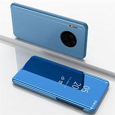 Huawei Mate 30 Pro用手帳型 レザーケース スタンド 鏡面 カバー ファーウェイ ネイビー
