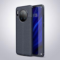 Huawei Mate 30 Pro用シリコンケース ソフトタッチラバー レザー柄 カバー ファーウェイ ネイビー
