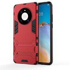 Huawei Mate 40用ハイブリットバンパーケース スタンド プラスチック 兼シリコーン カバー ファーウェイ レッド