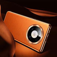 Huawei Mate 40用ケース 高級感 手触り良いレザー柄 S08 ファーウェイ オレンジ