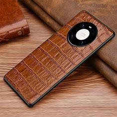 Huawei Mate 40用ケース 高級感 手触り良いレザー柄 S01 ファーウェイ ブラウン