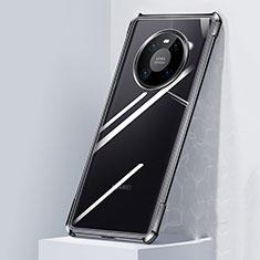 Huawei Mate 40用ハイブリットバンパーケース クリア透明 プラスチック 鏡面 カバー M01 ファーウェイ ブラック