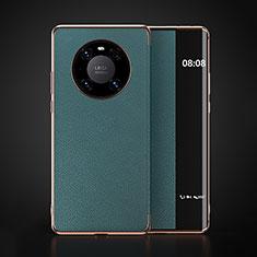 Huawei Mate 40用手帳型 レザーケース スタンド カバー F03 ファーウェイ シアン