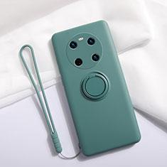 Huawei Mate 40用極薄ソフトケース シリコンケース 耐衝撃 全面保護 アンド指輪 マグネット式 バンパー A01 ファーウェイ グリーン