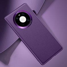Huawei Mate 40用ケース 高級感 手触り良いレザー柄 L03 ファーウェイ パープル