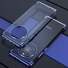 Huawei Mate 40用極薄ソフトケース シリコンケース 耐衝撃 全面保護 クリア透明 H02 ファーウェイ ネイビー