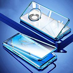 Huawei Mate 40用ケース 高級感 手触り良い アルミメタル 製の金属製 360度 フルカバーバンパー 鏡面 カバー M01 ファーウェイ ネイビー