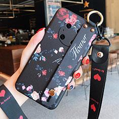 Huawei Mate 40用シリコンケース ソフトタッチラバー 花 カバー ファーウェイ ブラック