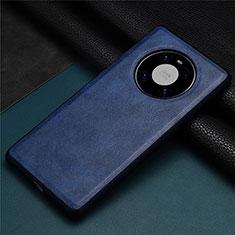 Huawei Mate 40用ケース 高級感 手触り良いレザー柄 R01 ファーウェイ ネイビー