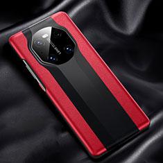 Huawei Mate 40用ケース 高級感 手触り良いレザー柄 R02 ファーウェイ レッド