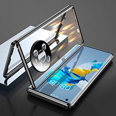 Huawei Mate 40用ケース 高級感 手触り良い アルミメタル 製の金属製 360度 フルカバーバンパー 鏡面 カバー T01 ファーウェイ ブラック