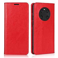 Huawei Mate 40用手帳型 レザーケース スタンド カバー K02 ファーウェイ レッド