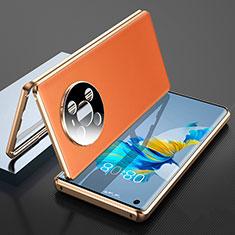 Huawei Mate 40用360度 フルカバー ケース 高級感 手触り良い アルミメタル 製の金属製 K01 ファーウェイ オレンジ