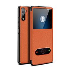 Huawei Mate 40 Lite 5G用手帳型 レザーケース スタンド カバー L05 ファーウェイ オレンジ