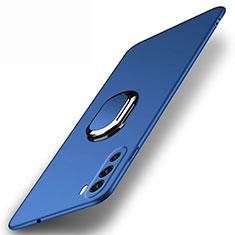 Huawei Mate 40 Lite 5G用ハードケース プラスチック 質感もマット アンド指輪 マグネット式 A01 ファーウェイ ネイビー